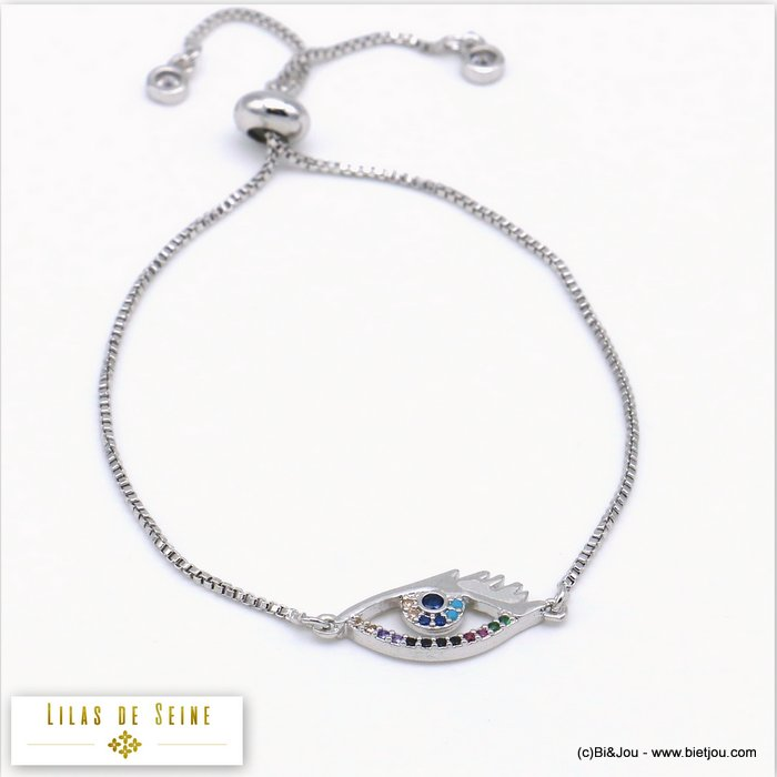 bracelet 0219517-13 eye adjustable sliding metal-strass 18x9mm