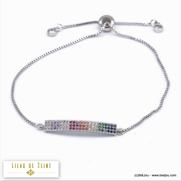 bracelet 0219518-13 adjustable sliding metal-strass 28x4mm