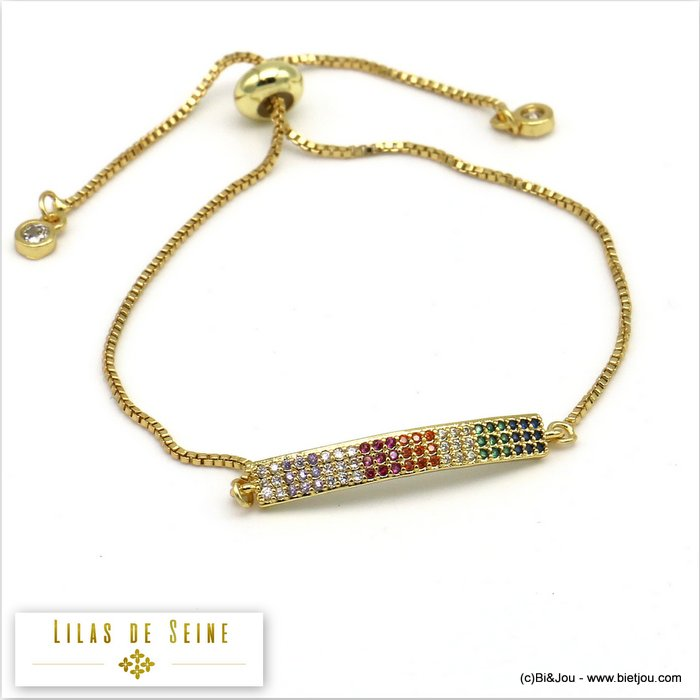 bracelet 0219518-14 adjustable sliding metal-strass 28x4mm