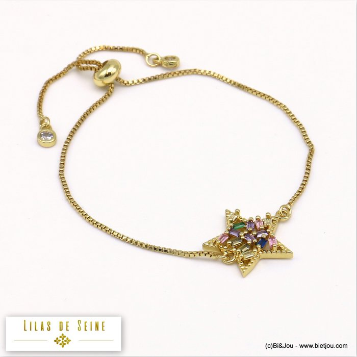 bracelet 0219519-14 star adjustable sliding metal-strass 18x17mm
