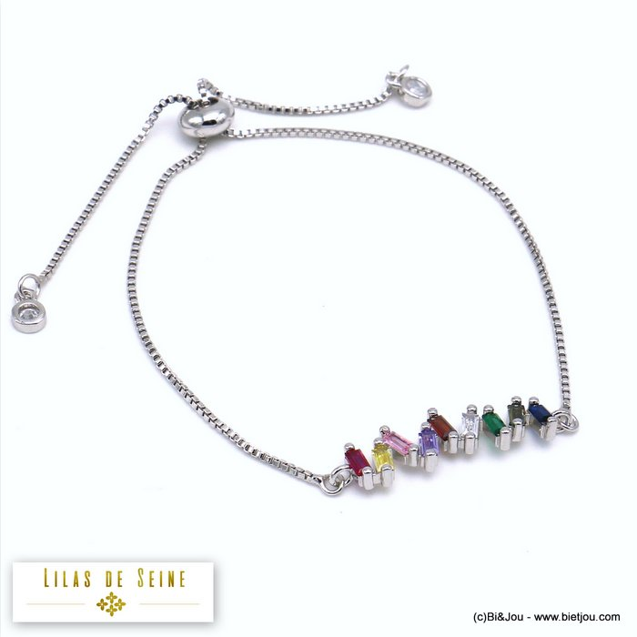 bracelet 0219520-13 adjustable sliding metal-strass 25x5mm