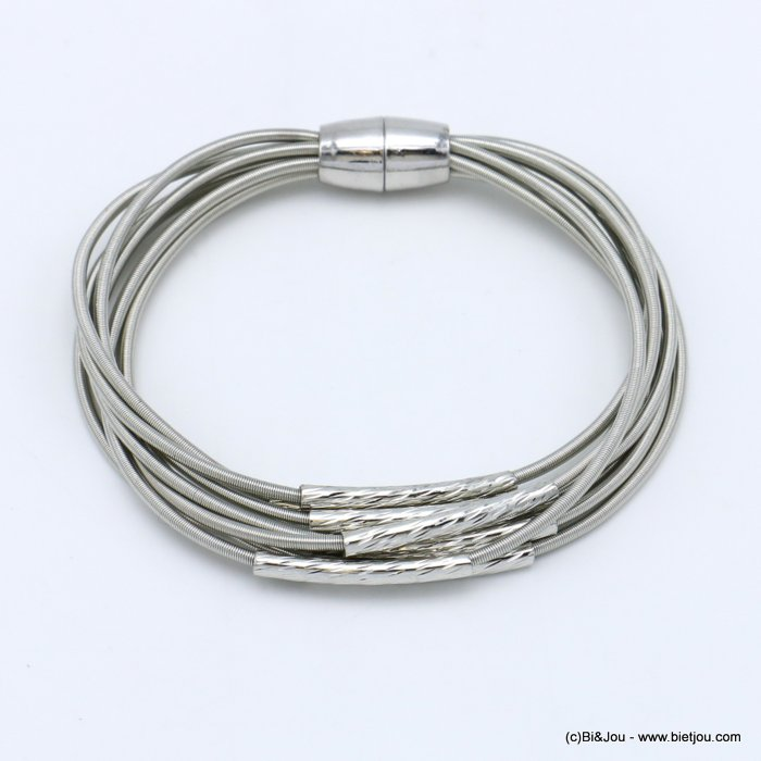 bracelet 0219523-13 multi-rows memory wire hammered metal tube magnetic clasp