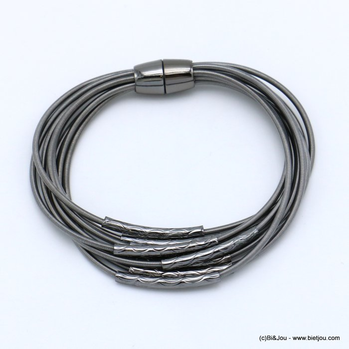 bracelet 0219523-20 multi-rows memory wire hammered metal tube magnetic clasp