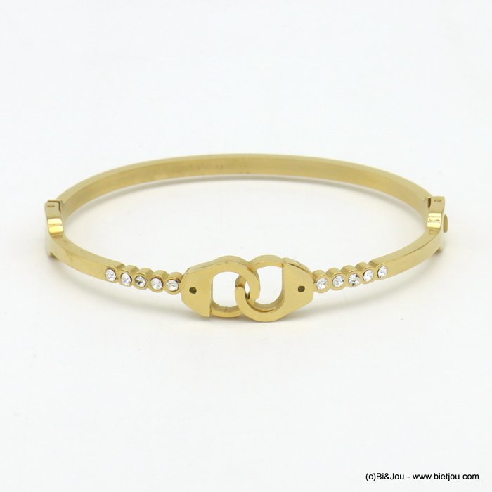 bracelet 0219535-14 bangle openable handcuffs stainless steel rhinestone 6x60mm