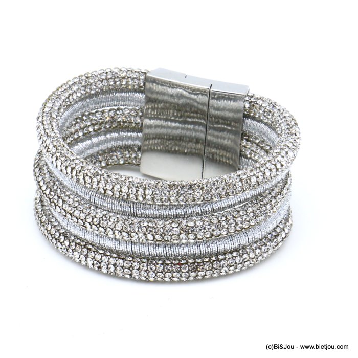bracelet 0219538-13 cuff multi-strand rhinestone tube metallized thread magnetic clasp