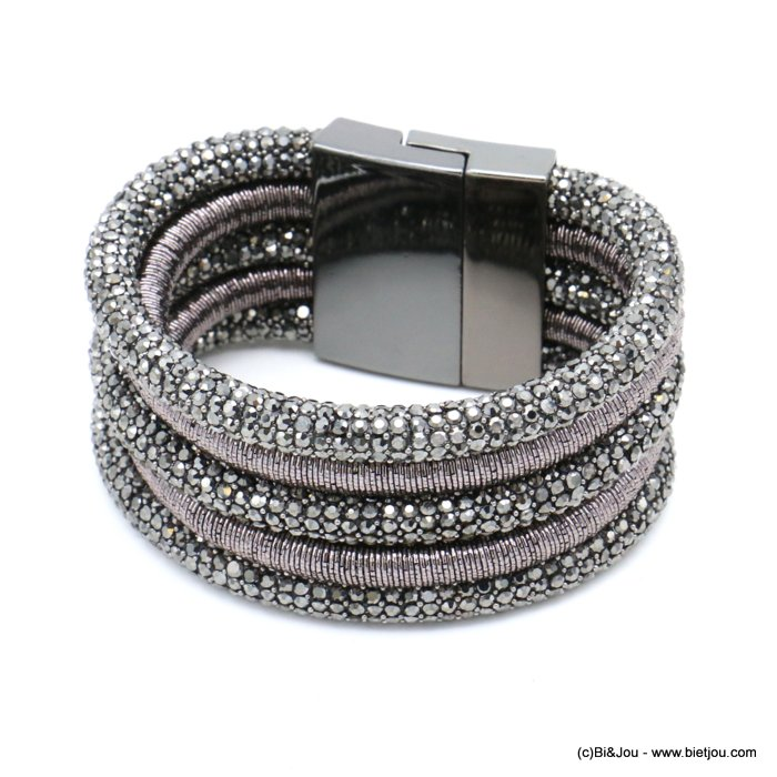 bracelet 0219538-20 cuff multi-strand rhinestone tube metallized thread magnetic clasp
