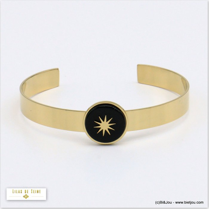 bracelet 0219547-01 open bangle 15mm round natural stone stainless steel north star woman size 8x60mm