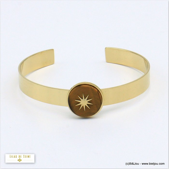bracelet 0219547-02 open bangle 15mm round natural stone stainless steel north star woman size 8x60mm