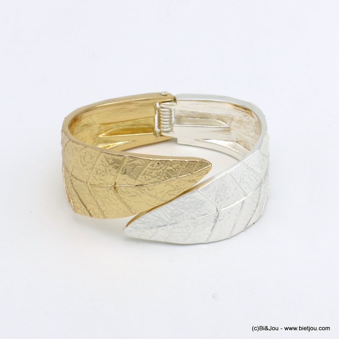 bracelet 0219553-14 openable two-coloured leaf metal 30x61mm