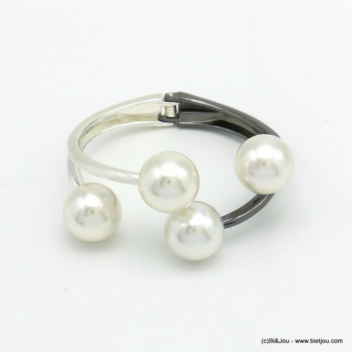 bracelet 0219554-20 openable two-coloured metal-acrylic beads 35x65mm