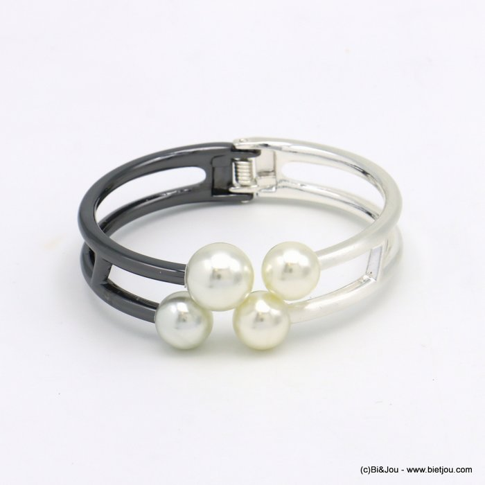 bracelet 0219558-20 openable two-coloured metal-acrylic beads 23x68mm