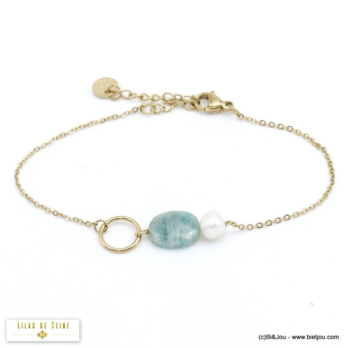 bracelet 0220001-07 stainless steel natural stone freshwater pearl woman slave link chain