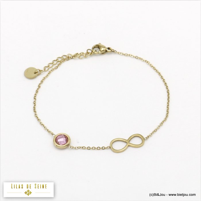 bracelet 0220009-27 stainless steel infinite coloured strass woman slave link chain
