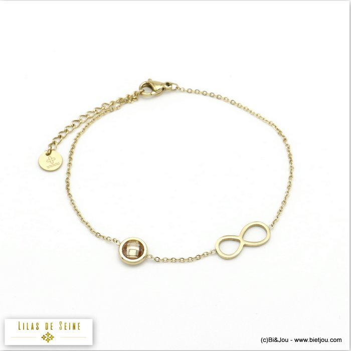 bracelet 0220009-30 stainless steel infinite coloured strass woman slave link chain