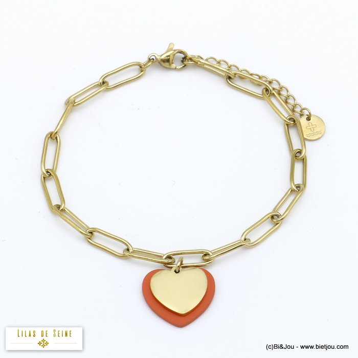 bracelet 0220013-18 stainless steel heart woman rectangular link chain