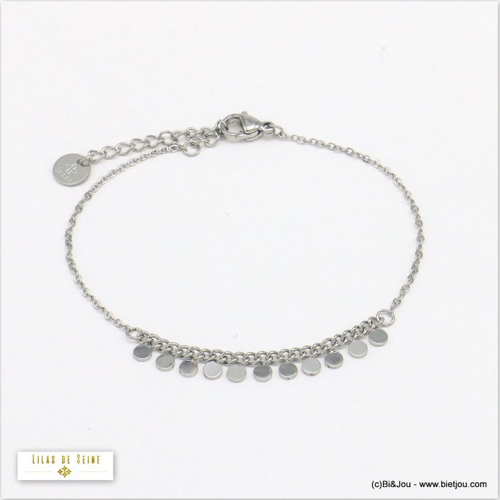 bracelet 0220015-13 minimalist mini round charms slave and curb link chain stainless steel woman