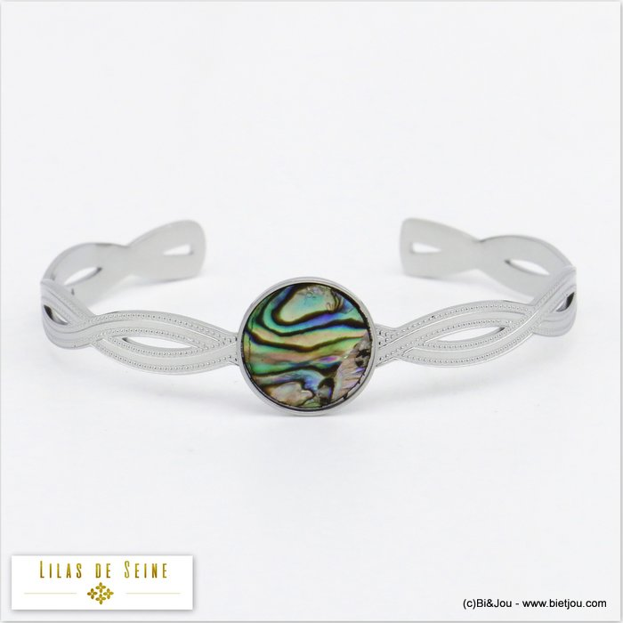 bracelet 0220035-13 cuff open stainless steel shell