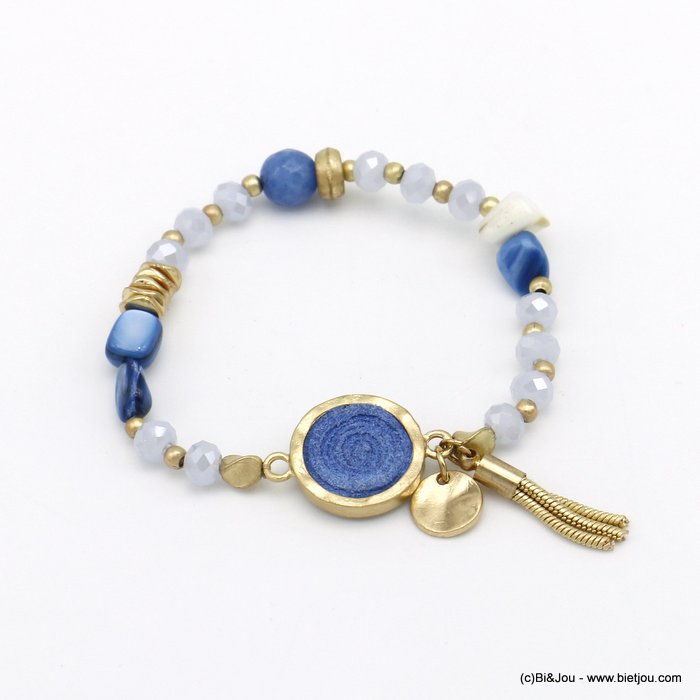 bracelet 0220088-08 elastic tassel crystal-mat metal-shell-suede-reconstituted stone
