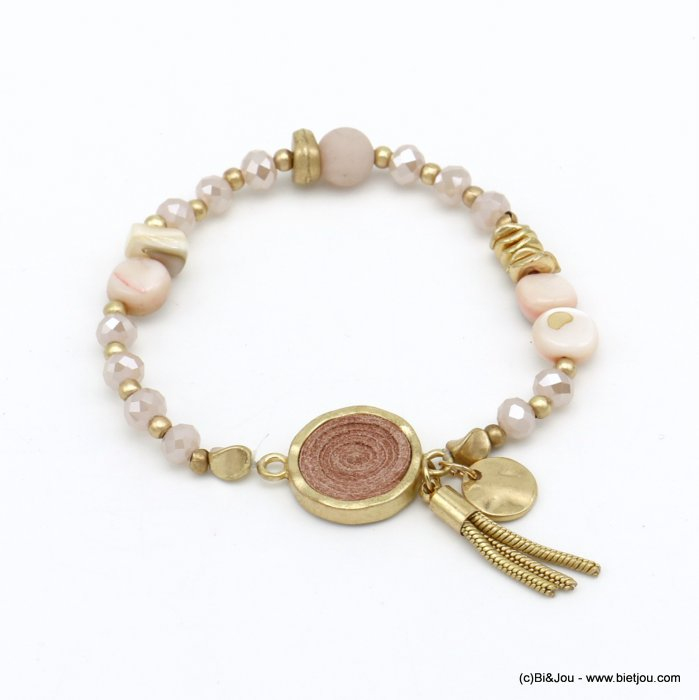 bracelet 0220088-18 elastic tassel crystal-mat metal-shell-suede-reconstituted stone