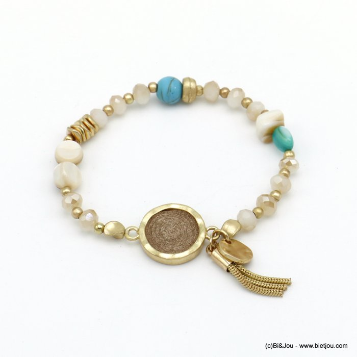 bracelet 0220088-30 elastic tassel crystal-mat metal-shell-suede-reconstituted stone