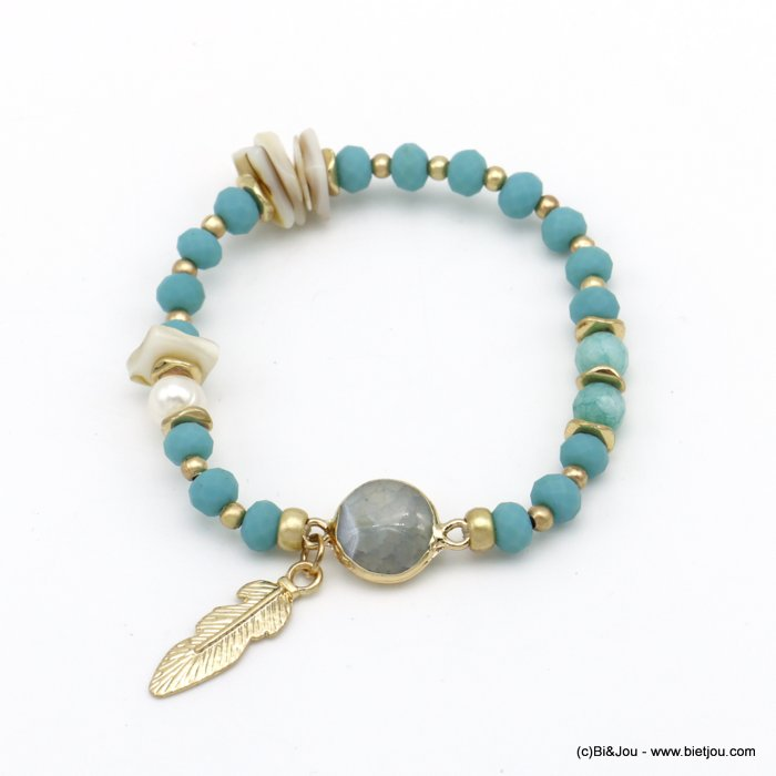 bracelet 0220091-07 elastic feather pearl-metal-shell-reconstituted stone