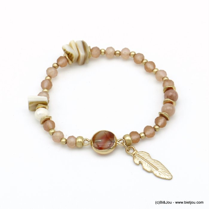 bracelet 0220091-18 elastic feather pearl-metal-shell-reconstituted stone