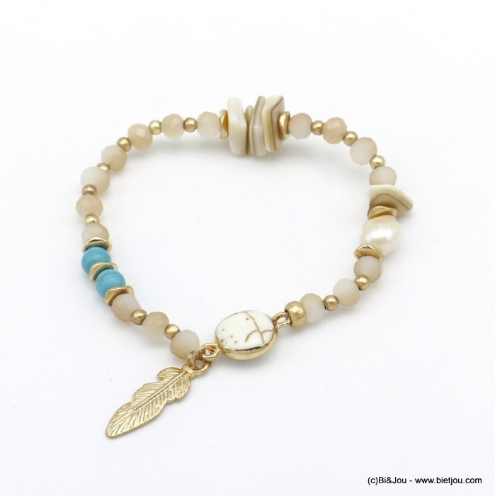 bracelet 0220091-30 elastic feather pearl-metal-shell-reconstituted stone