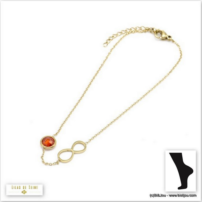 anklet 0219107-13 0220096-11 stainless steel infinite coloured strass woman slave link chain
