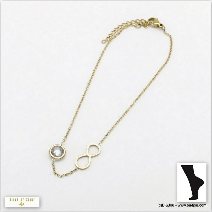 anklet 0219107-13 0220096-19 stainless steel infinite coloured strass woman slave link chain