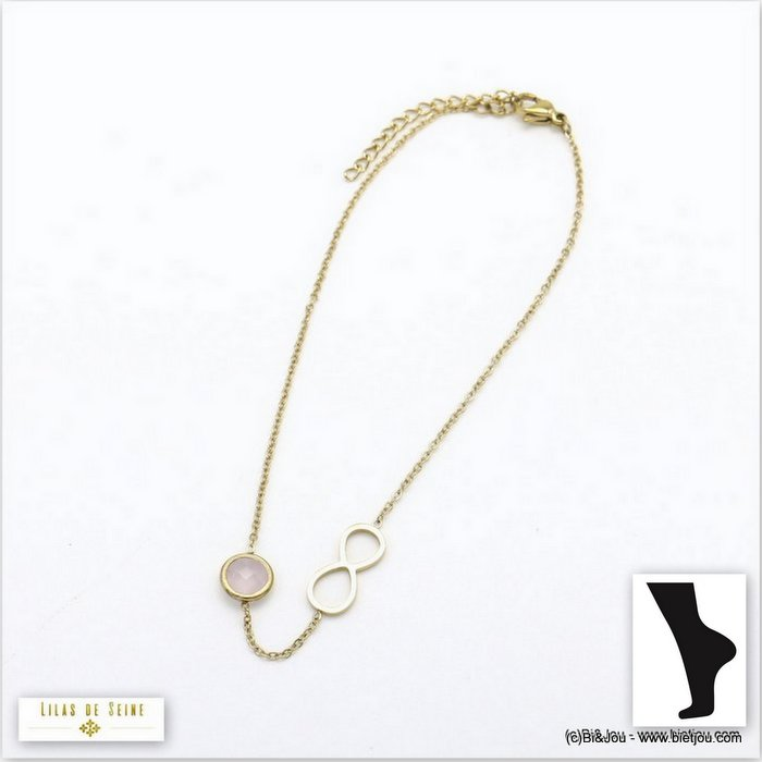 anklet 0219107-13 0220096-27 stainless steel infinite coloured strass woman slave link chain
