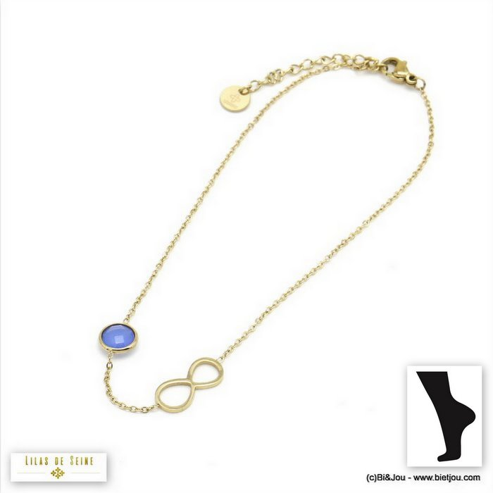anklet 0219107-13 0220096-38 stainless steel infinite coloured strass woman slave link chain