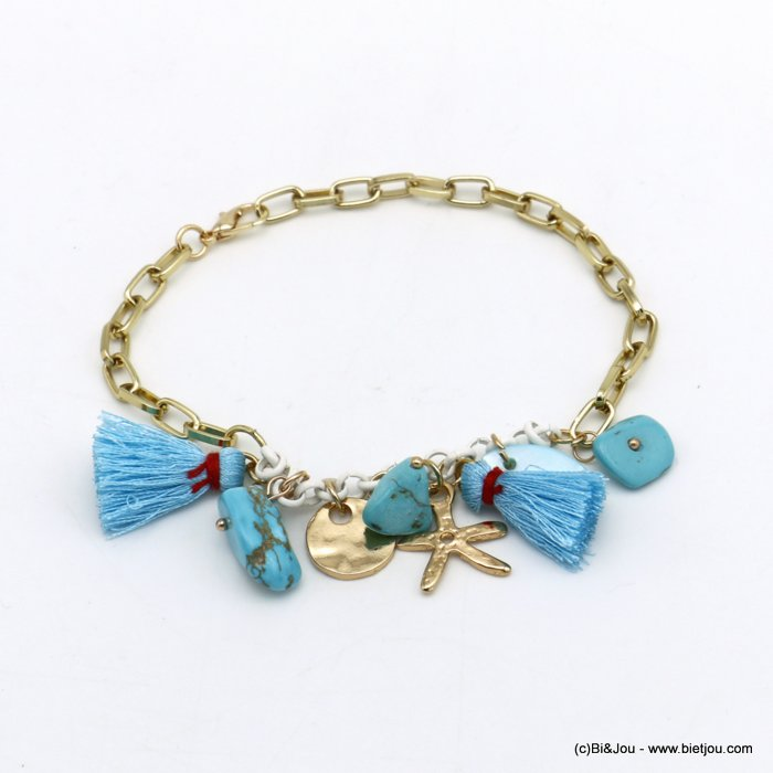 bracelet 0220098-17 Starfish tassel shell-metal-polyester-reconstituted stone