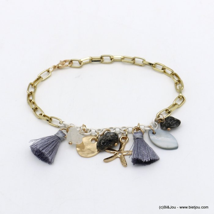 bracelet 0220098-25 Starfish tassel shell-metal-polyester-reconstituted stone
