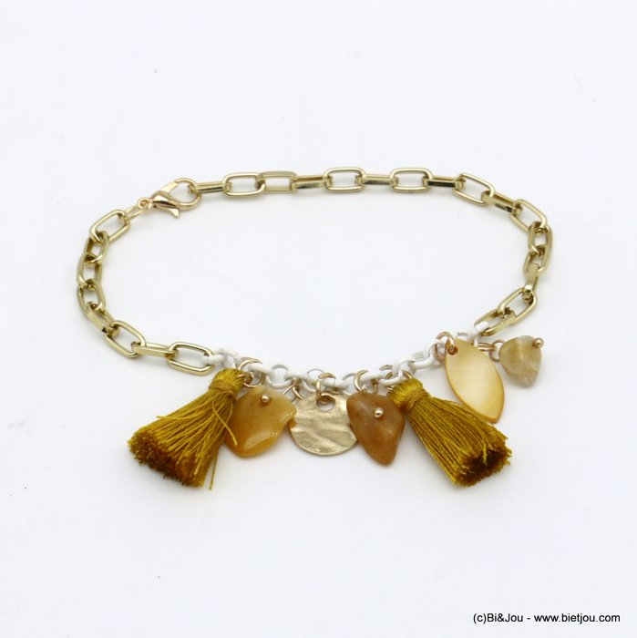 bracelet 0220098-43 Starfish tassel shell-metal-polyester-reconstituted stone