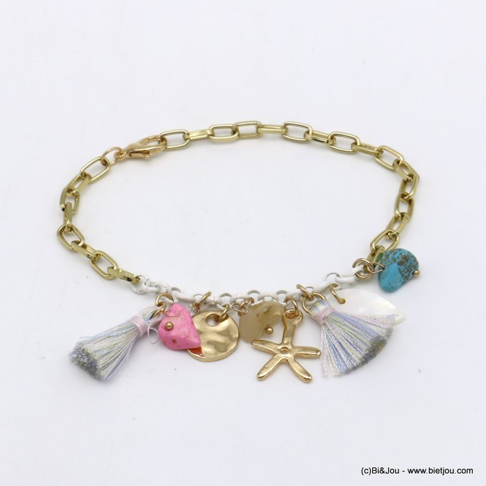 bracelet 0220098-99 Starfish tassel shell-metal-polyester-reconstituted stone