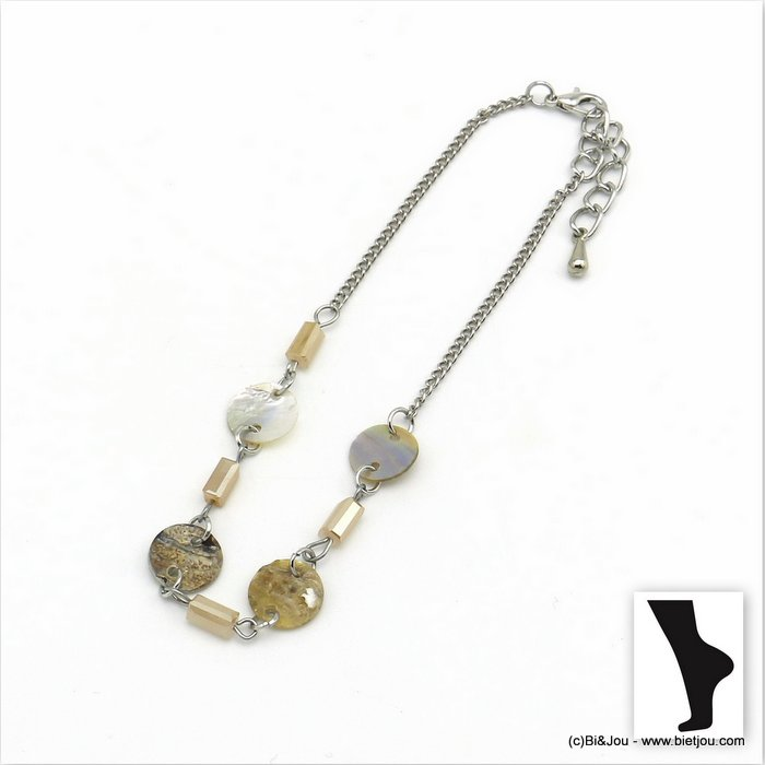 anklet 0220101-06 shell-crystal-metal