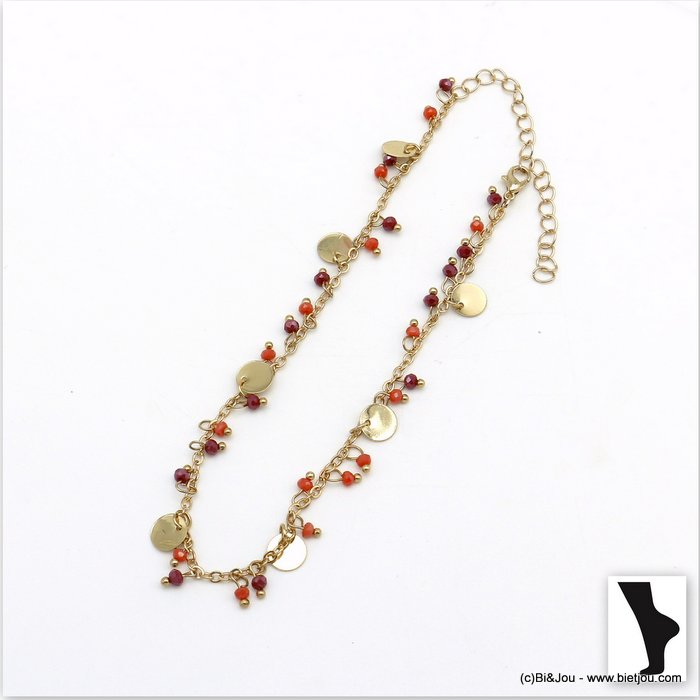 anklet 0220103-36 crystal-metal