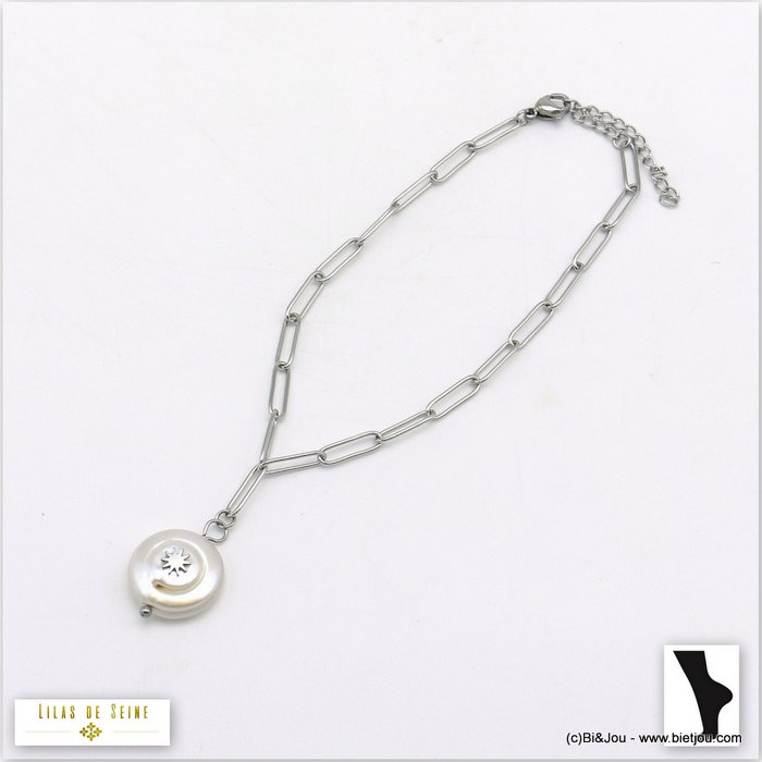 anklet 0220105-13 stainless steel-freshwater pearl