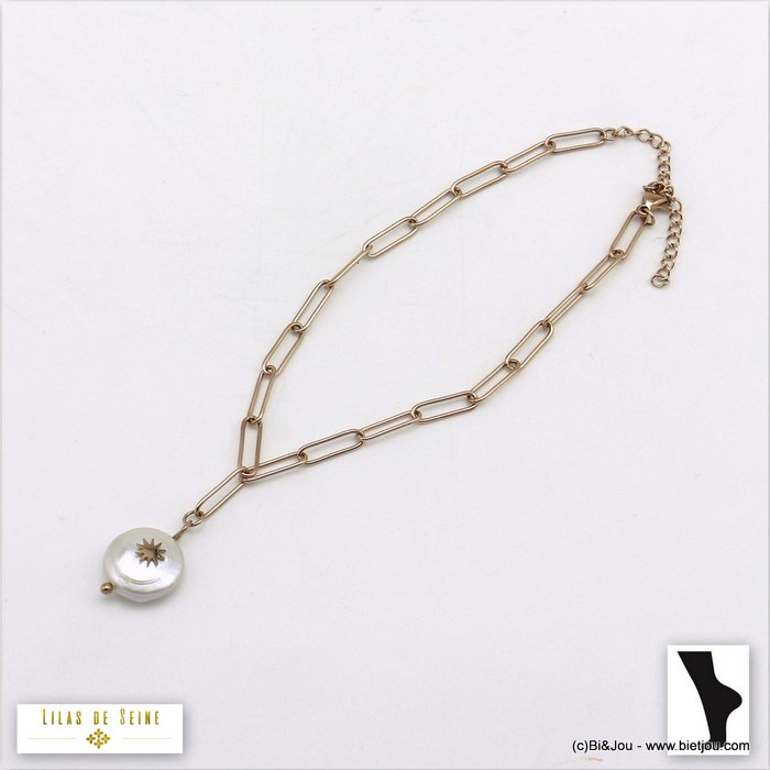 anklet 0220105-23 stainless steel-freshwater pearl