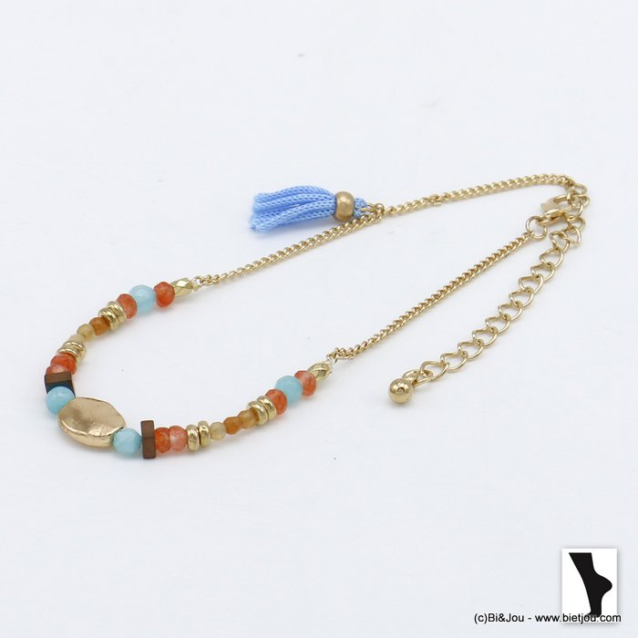 anklet 0220107-36 colored natural stones polyster thread tassel metal woman