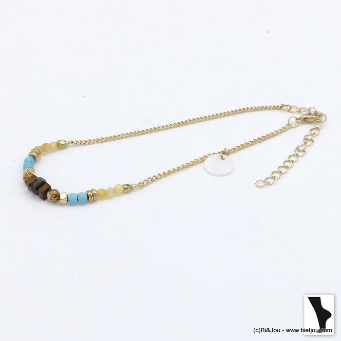 anklet 0220108-17 colored natural stones shell drop bead metal woman