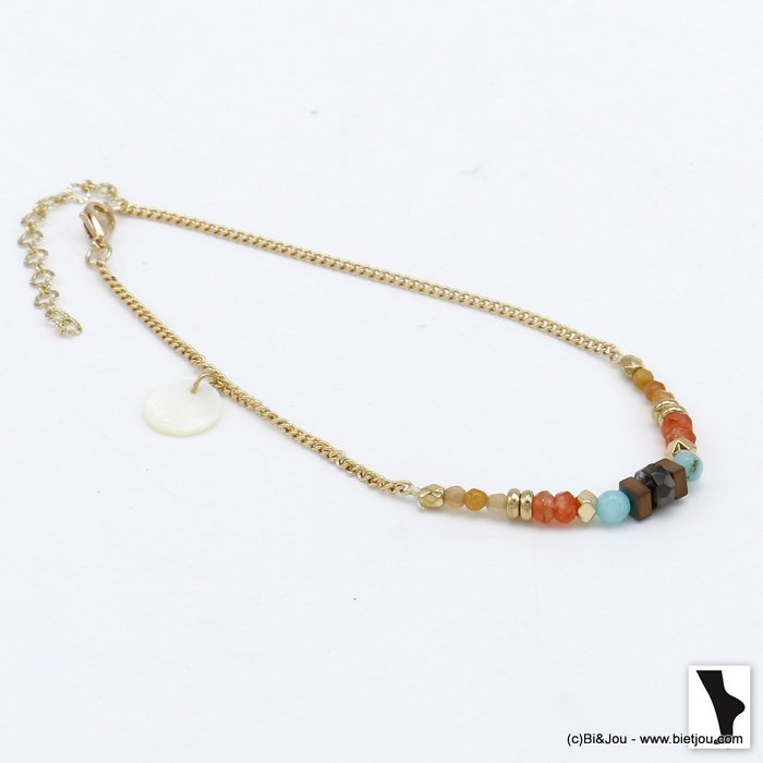anklet 0220108-36 colored natural stones shell drop bead metal woman