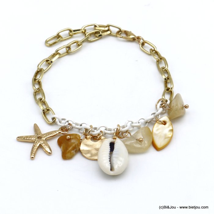 bracelet 0220116-06 beach cowrie shell stone chips metal starfish rectangular link chain woman