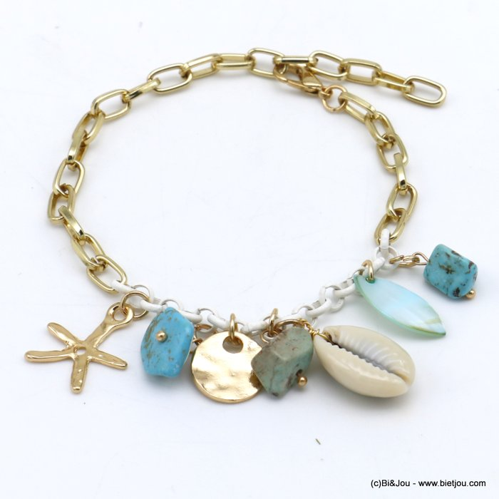 bracelet 0220116-17 beach cowrie shell stone chips metal starfish rectangular link chain woman