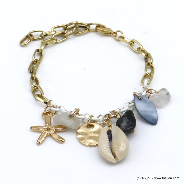bracelet 0220116-25 beach cowrie shell stone chips metal starfish rectangular link chain woman