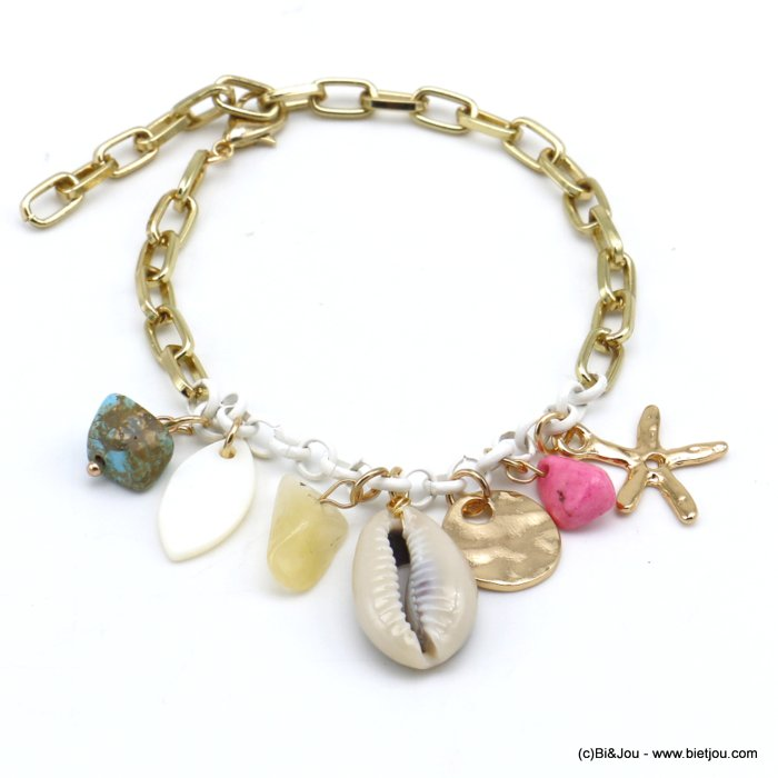 bracelet 0220116-99 beach cowrie shell stone chips metal starfish rectangular link chain woman