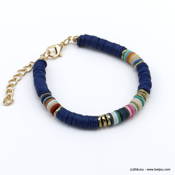 bracelet 0220117-09 surfer with colored heishi pearls in polymer and in metal woman