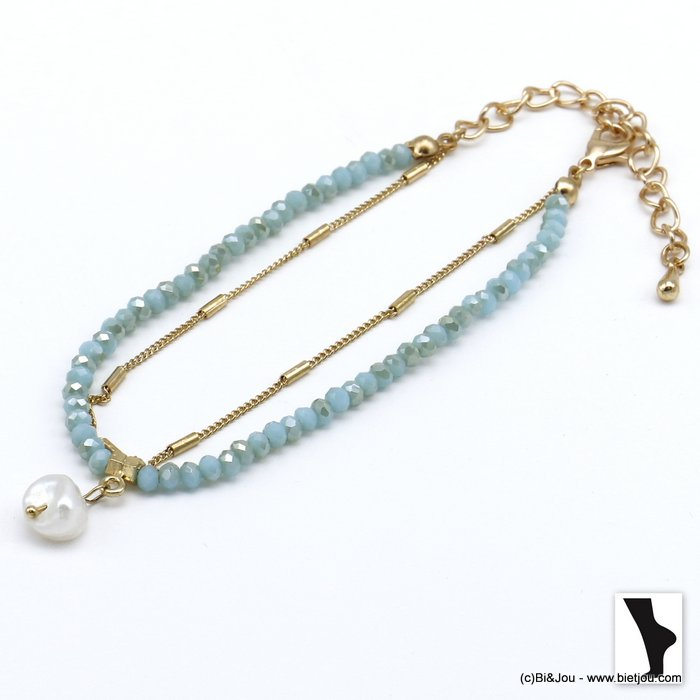 ankle chain 0220118-17 double row with crystal and shell pendant in metal woman