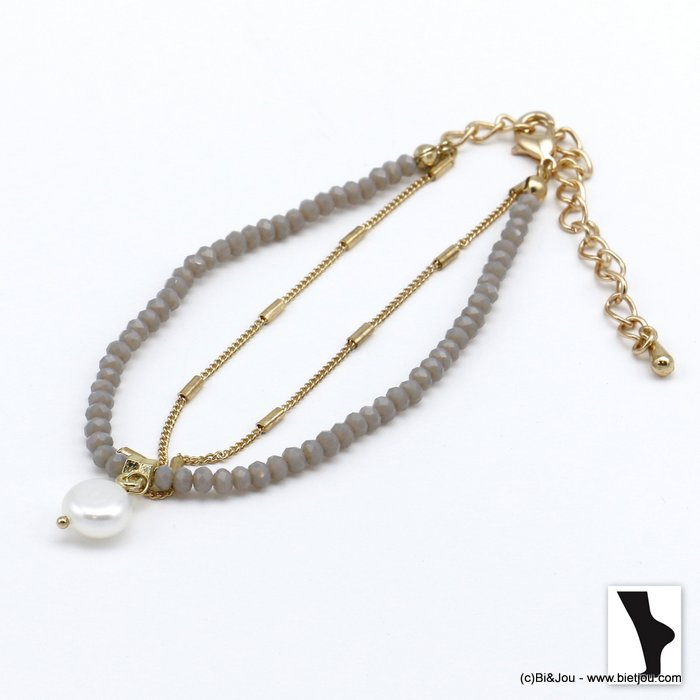 ankle chain 0220118-25 double row with crystal and shell pendant in metal woman