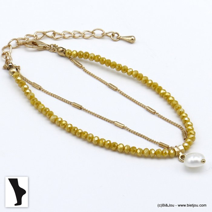 ankle chain 0220118-43 double row with crystal and shell pendant in metal woman